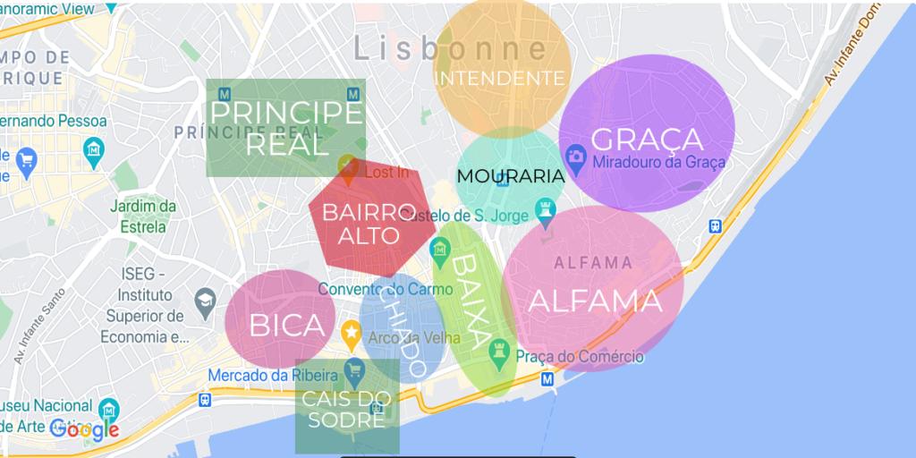 carte des quartiers à lisbonne